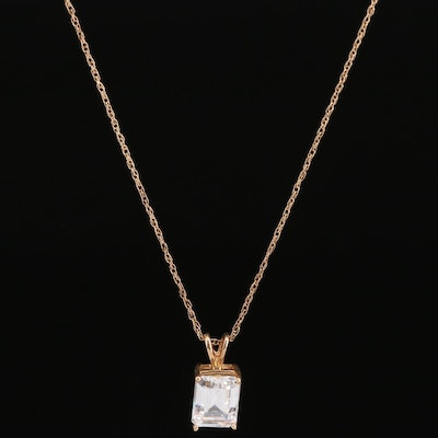 14K Cubic Zirconia Pendant Necklace
