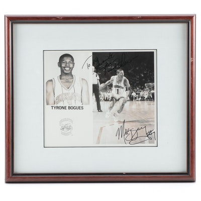 "Tyrone ""Muggsy"" Bogues Signed Charlotte Hornets Framed Photo Print"