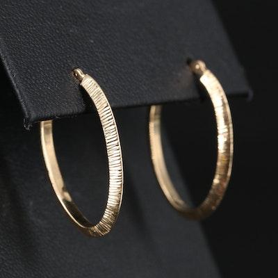 14K Elongated Knife Edge Hoop Earrings with Diamond Cut Pattern