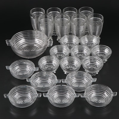 EAPG Anchor Hocking Manhattan Glass Bowls, Tumblers and Dessert Cups