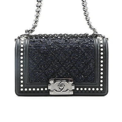 Chanel Small Boy Bag in Navy Tweed and Pearl Embellished Calfskin