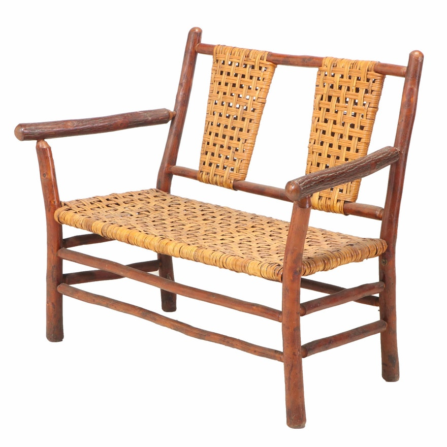 Old Hickory Furniture Co. Rustic Twig and Splint-Woven Settee, dated 1937