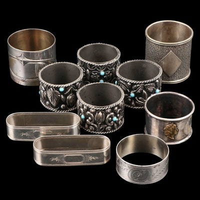 Sterling Silver and Other Silver Tone Metal Napkin Rings