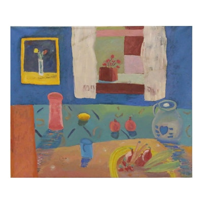 Jerald Mironov Oil Painting of Kitchen Still Life, Late 20th Century