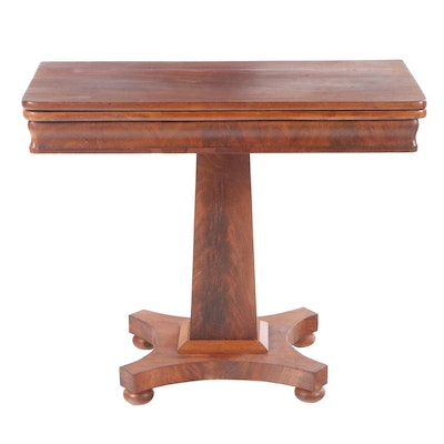 American Empire Mahogany Flip-Top Games Table, 19th Century