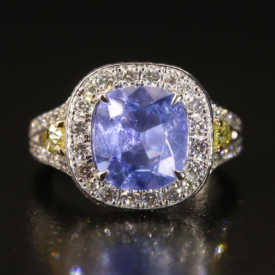 Charles Krypell 2.96 CT Ceylon Unheated Sapphire and 1.81 CTW Diamond Ring