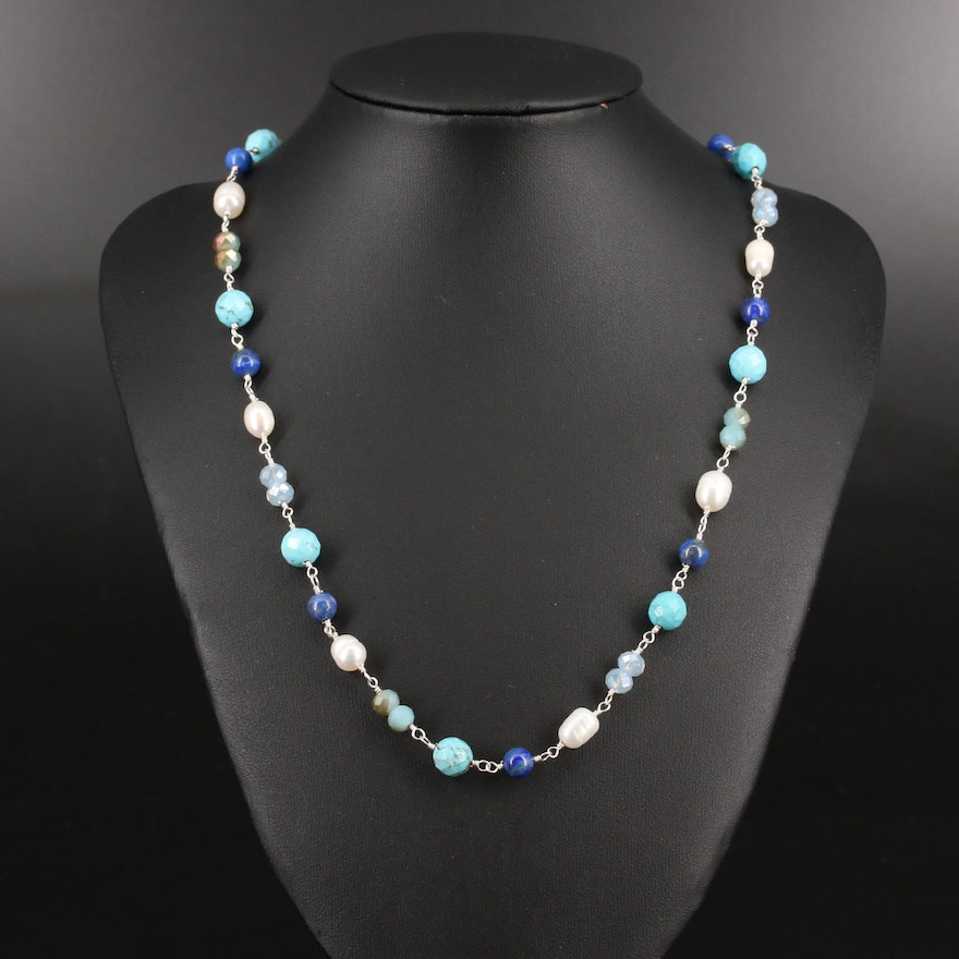 Sterling Silver Pearl, Magnesite and Lapis Lazuli Beaded Necklace