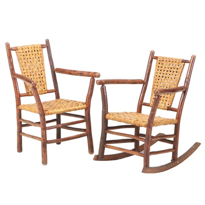 Old Hickory Furniture Co. Rustic Twig Armchair and Rocker, dated 1939