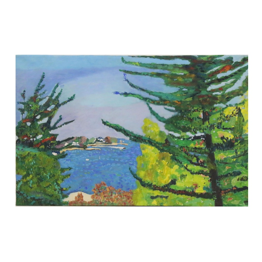 Jerald Mironov Oil Painting of Ocean Landscape, Late 20th Century