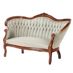 Louis XV Style Upholstered Finger Carved Walnut Settee, Early 20th C