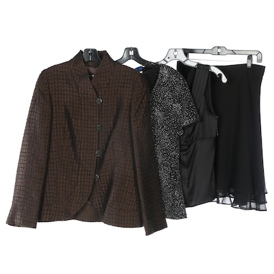 Armani Collezioni Wool Blazer and Embellished Blouse with St. John Evening Wear