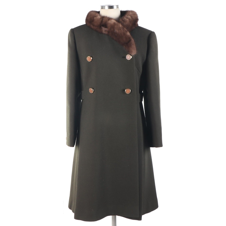Union Made Green Wool Coat with Mink Fur Collar, 1960s