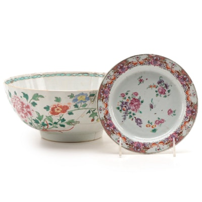 Chinese Famille Rose Porcelain Serving Bowl and Side Plate, 19th C.