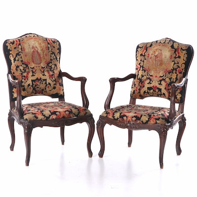 Pair of Louis XV Style Mahogany Needlepoint Fauteuils, Late 19th Century