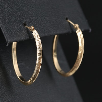 14K Textured Knife Edge Hoop Earrings
