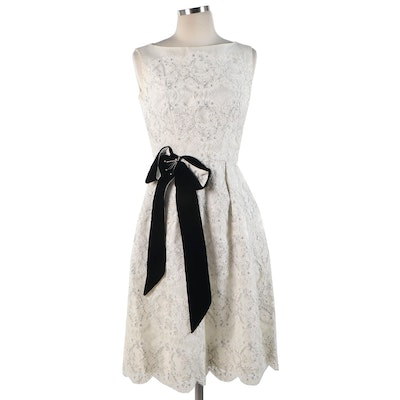 Scalloped Lace Pleated Velvet Bow Dress, Mid-Late 20th Century