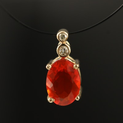 14K Fire Opal and Diamond Pendant