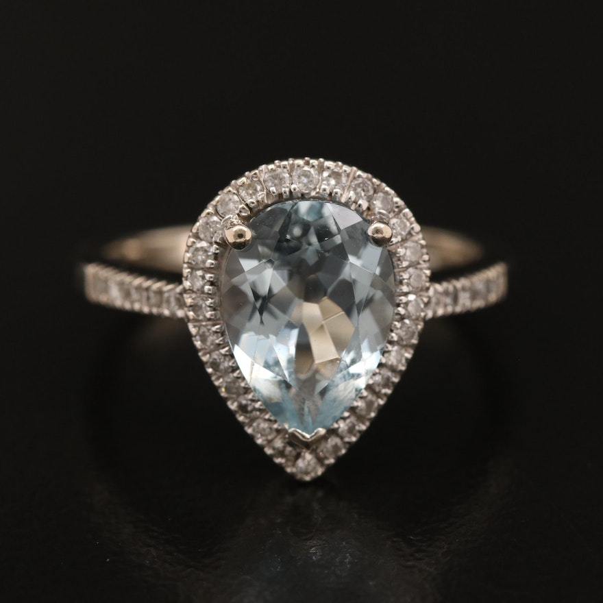 14K Pear Faceted Aquamarine Ring with Diamond Halo