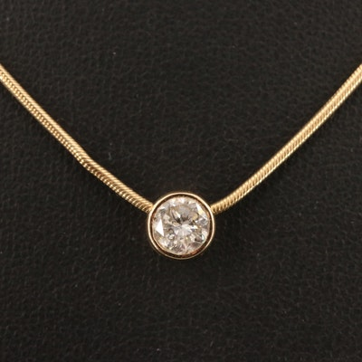 14K 0.73 CTW Diamond Solitaire Pendant Necklace