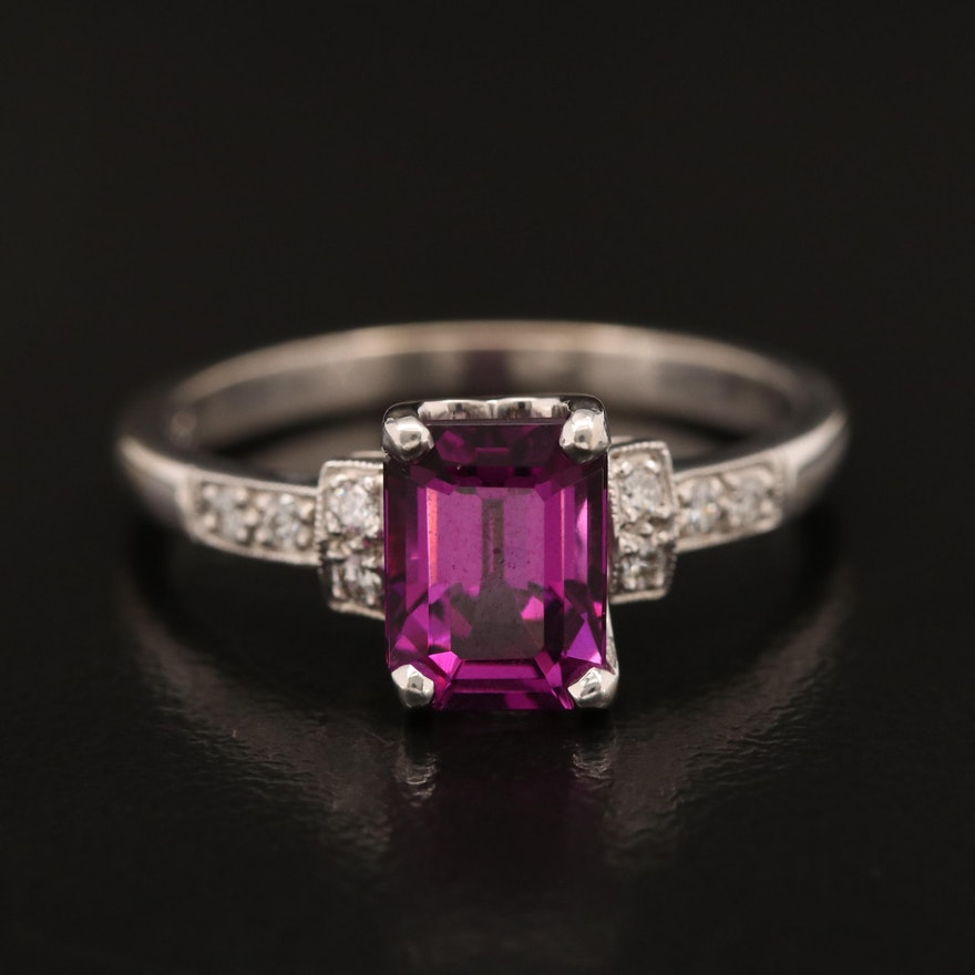 18K Garnet and Diamond Ring