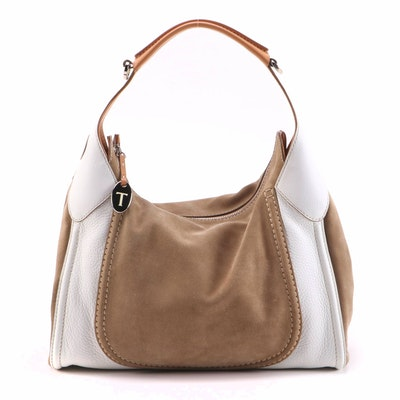 Tod's Hobo Bag in Tan Suede and White Pebble Grain Leather