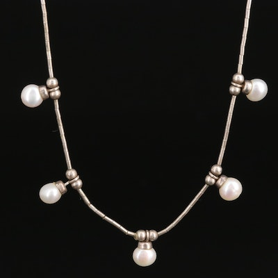 Sterling Silver Pearl Station Necklace