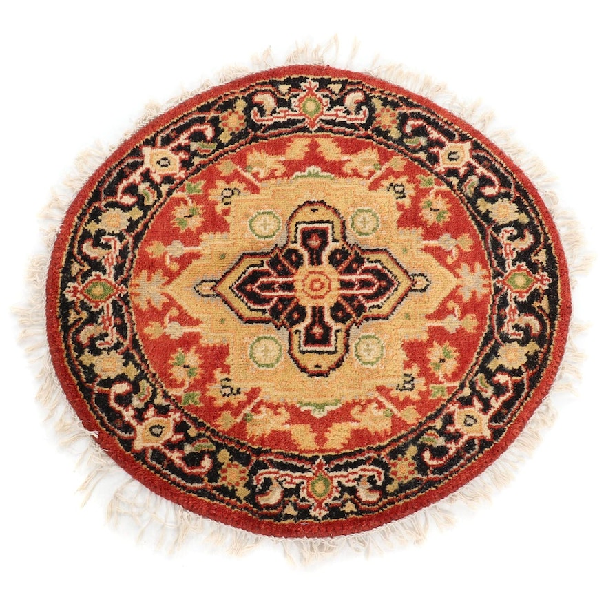 3'4 x 3'4 Hand-Knotted Indo Persian Round Rug, 2000s