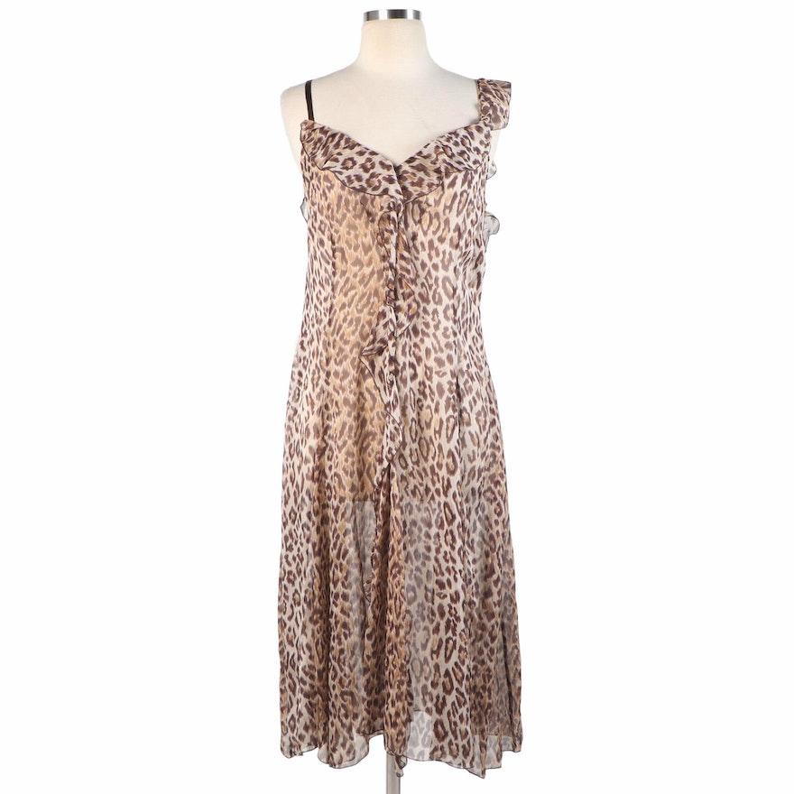 Dolce & Gabbana Cascade Ruffle Slip Dress in Leopard Print Silk
