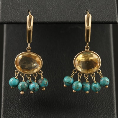14K Citrine and Turquoise Dangle Earrings