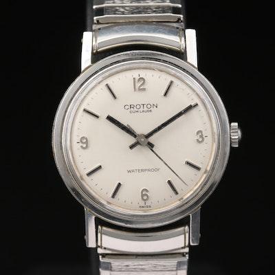 Vintage Croton Cum Laude Stainless Steel Stem Wind Wristwatch