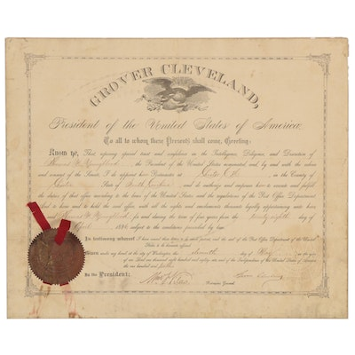 1886 Grover Cleveland Era Postmaster Appointment Document