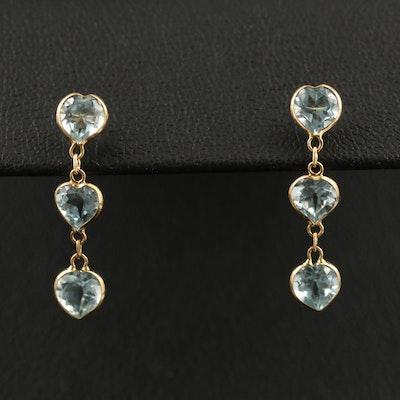 18K Heart Faceted Topaz Drop Earrings