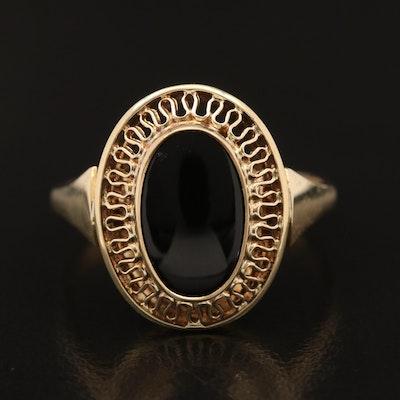 Vintage 14K Black Onyx Openwork Ring