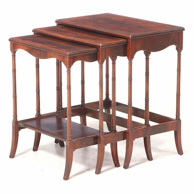 Johnson-Handley-Johnson Regency Style Flame Mahogany Nesting Tables