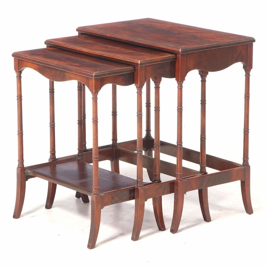 Johnson-Handley-Johnson Regency Style Flame Mahogany Nesting Tables