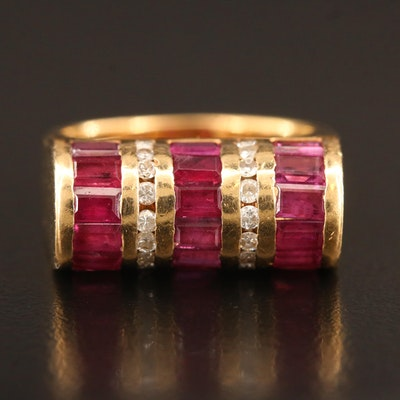 14K Ruby and Diamond Cylindrical Motif Ring