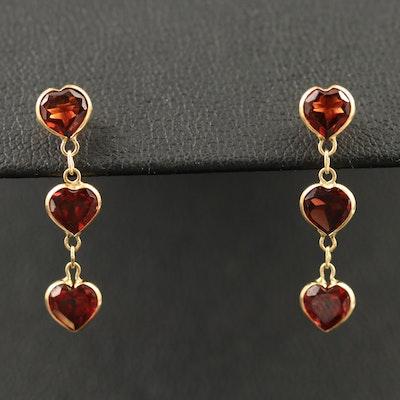 18K Heart Faceted Garnet Drop Earrings