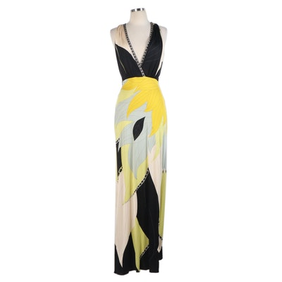 Emilio Pucci Printed Silk Maxi Dress with Criss-Cross Back
