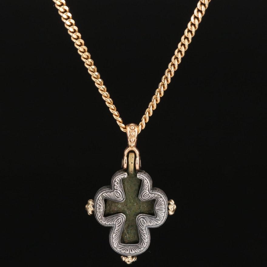 """Pavlos """"Byzantine Cross"""" 18K and Sterling Silver Necklace"""