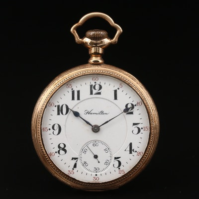 1912 Hamilton Gold Filled Open Face Pocket Watch