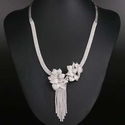 Sterling Silver Cubic Zirconia Floral Accented Necklace