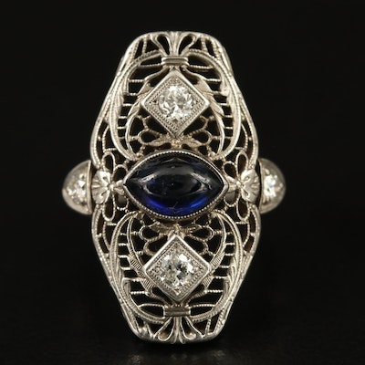 14K Sapphire and Diamond Openwork Ring with Platinum Accents and 10K Shank