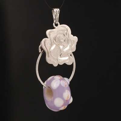 Beau Sterling Rose Charm Holder Pendant with Glass Charm