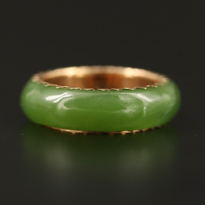 14K Nephrite Hololith Ring