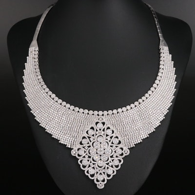 Sterling Cubic Zirconia Collar Bib Necklace