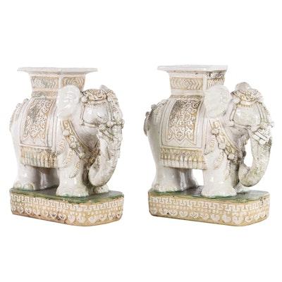 Chinese Ceramic Elephant Garden Seats, Late 20th Century