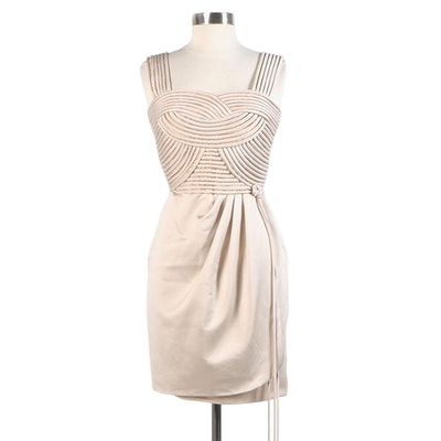 Victor Costa Silk Cocktail Dress in Champagne