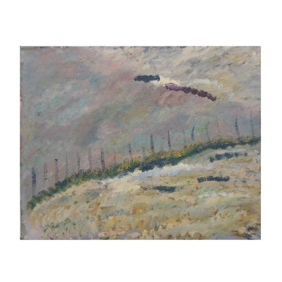 Jerald Mironov Expressionist Landscape Oil Painting, 20th Century