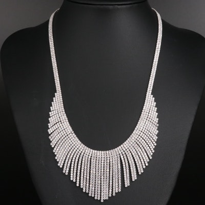 Sterling Silver Cubic Zirconia Bib Necklace