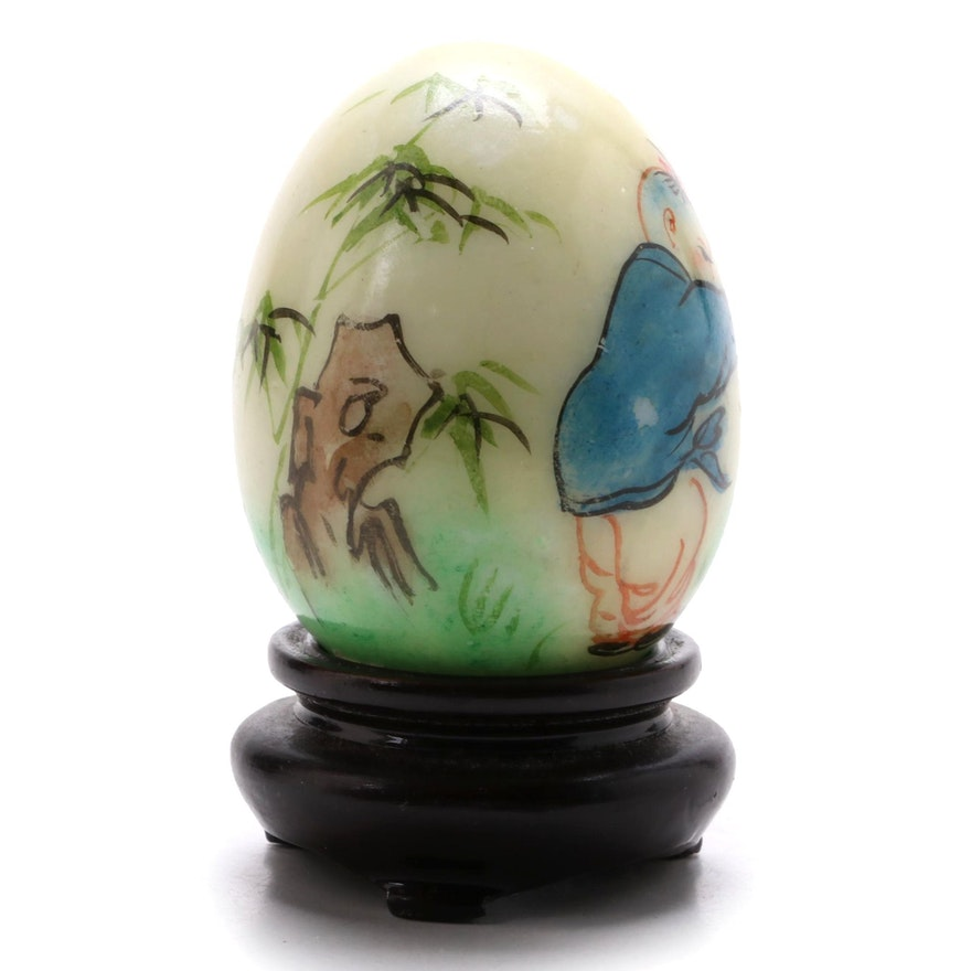 Chinese Hand-Painted Stone Egg with Wooden Base, Late 20th Century